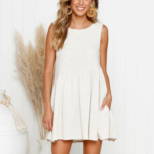 Sleeveless Solid Color Cotton And Linen Casual Mini Dress