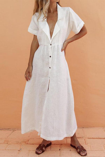 Suit Collar Single-Breasted Slim Maxi Dress