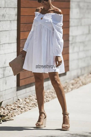 Fashionable Sexy Pure Color Cross Pleated One Word Shoulder Mini Dress