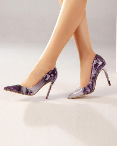 Marbling Pointed Heeled Pumps Stilettos