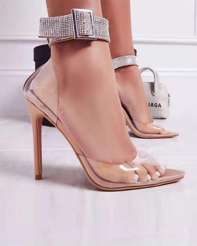 Transparent Surface Pointed Heeled Pumps