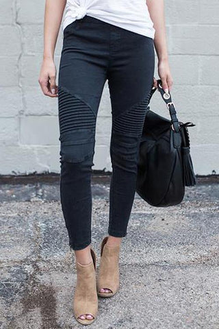 Fold Design Zipper Skinny Casual Pants