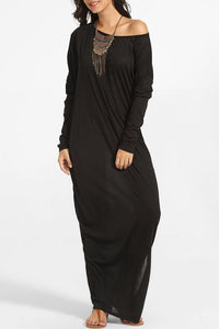 Round Neck Loose Fitting Plain Maxi Dress