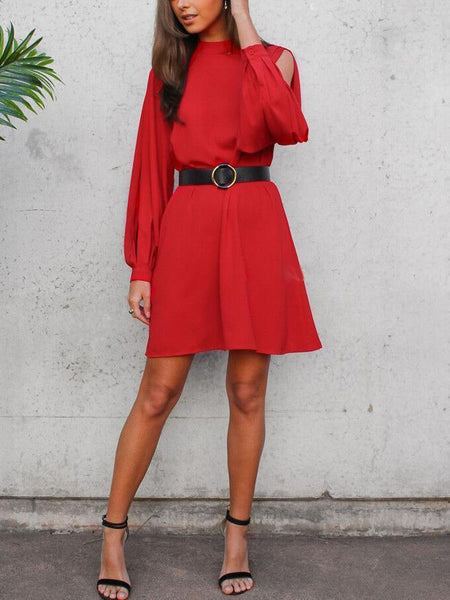 Fashion Chiffon Pure Colour Long Sleeve Slit Mini Dresses