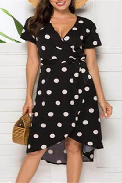 Sexy V-Neck Polka Dot Short Sleeve Irregular Dresses