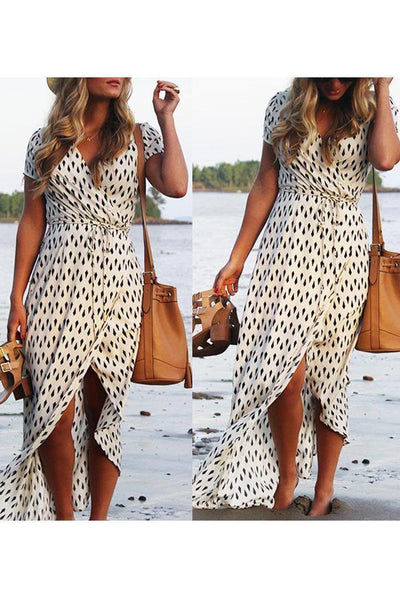 Sexy V Neck Printed Short Sleeve Lace Up Vacation Dress