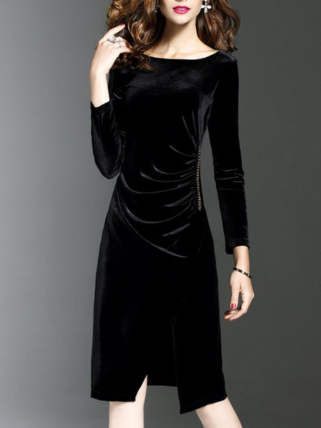 Round Neck Slit Plain Velvet Evening Dress