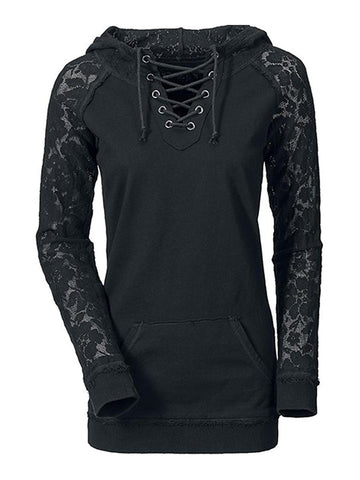 Lace Up See Through Plain Hoodie