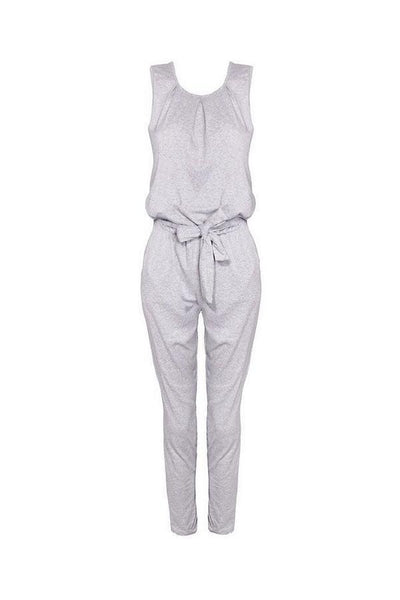 Round Neck  Bowknot  Belt Loops  Plain Jumpsuits