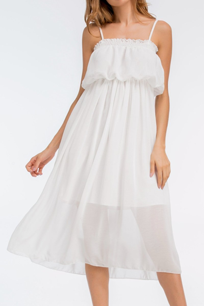 Spaghetti Strap Chiffon Hollow Out Plain Skater Dress