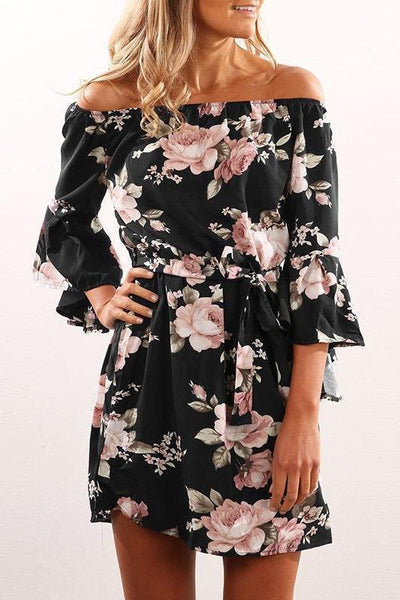 Casual Sexy Half Sleeves Floral Print Mini Dress