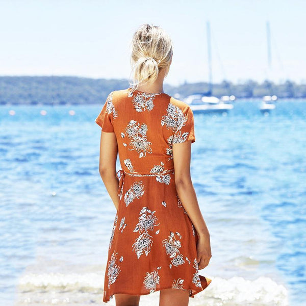 Orange Casual V Neck Floral Print Mini Dress