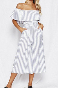 Off Shoulder  Elastic Waist  Cascading Ruffles  Stripes  Petal Sleeve  Short Sleeve Jumpsuits