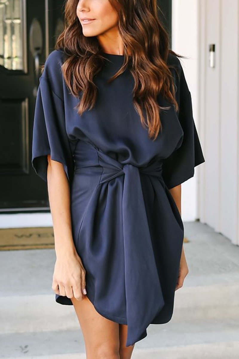 Casual Short Sleeves Dark Blue Mini Dress