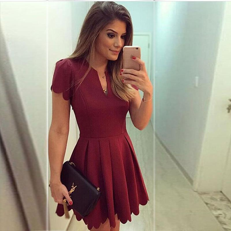 Casual Short Sleeves Pure Color Mini Dress