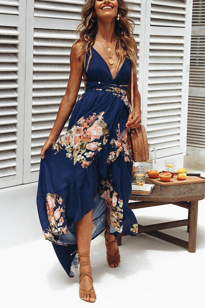Sexy V Neck Floral Print Backless Vacation Maxi Dress