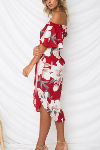 Sexy Off Shoulder Floral Print Vacation Mini Dress