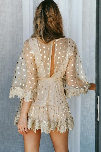 Sexy Gold Splicing Half Sleeves Mini Dress