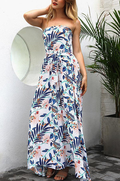 Fashion Off Shoulder Floral Print Vacation Maxi Dress