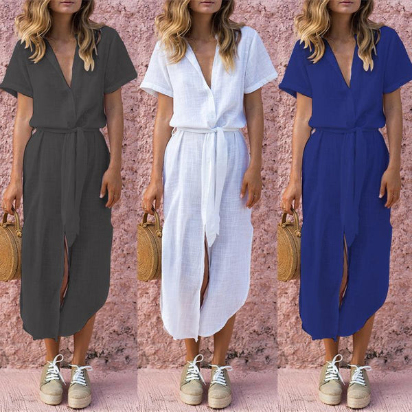 Deep V Buttons Down Short Sleeves Vintage Dress Maxi Dress