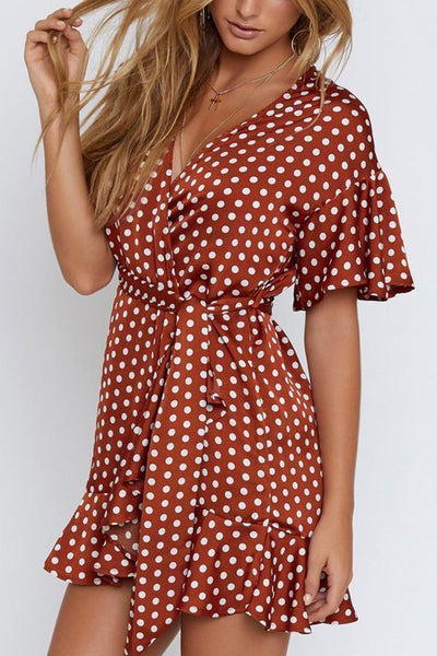 Sexy Short Sleeves Wave Point Mini Dress