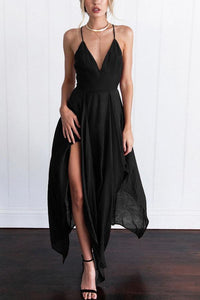 Spaghetti Strap  Asymmetric Hem Backless  Plain  Sleeveless Maxi Dresses