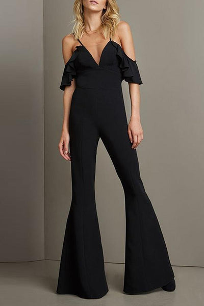 Sexy Off Shoulder Short Sleeves Jumpsuit