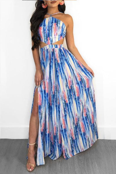 Sexy Floral Halter Tube Midriff Backless Vacation Dress