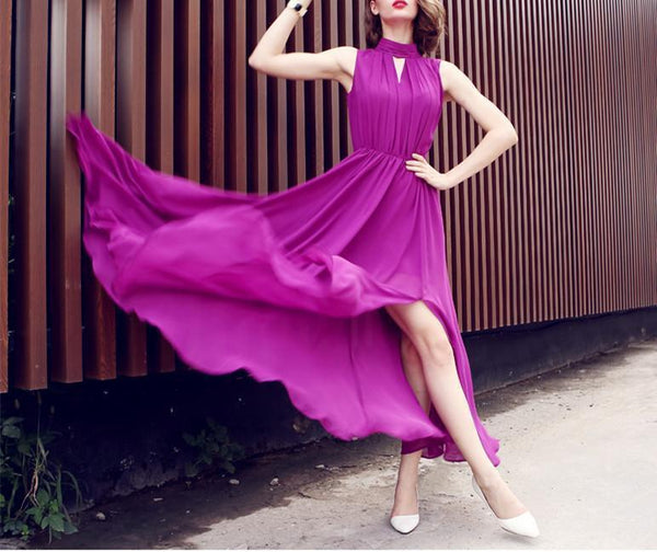 Boximiyagaoling, Sleeveless Folds, Lean Waist Up, Spread Out A Cross Chiffon Dress.
