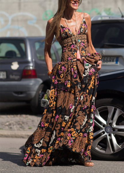 Autumn New European And American Velvet Suspenders Maxi Dress
