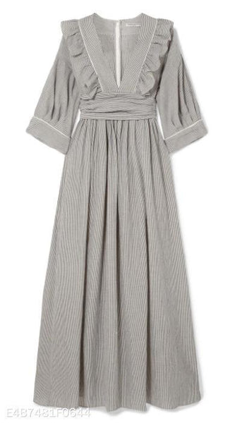 V-Collar Striped Lace Band Dress