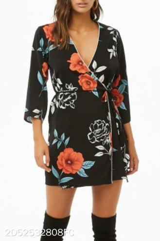 Fashion Casual Vacation Slim Floral V Collar Medium Sleeve Lace-Up Waistband Shift Dress