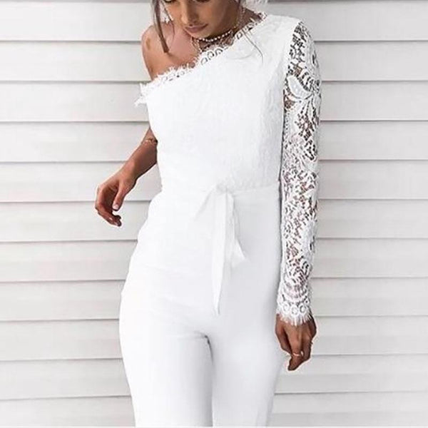 Fashion Sexy One Shoulder Lace Bandage Jumpsuits