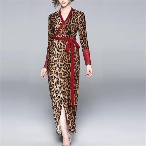 Autumn Fashion Leopard Printed Belt Long Sleeves Maxi Dress