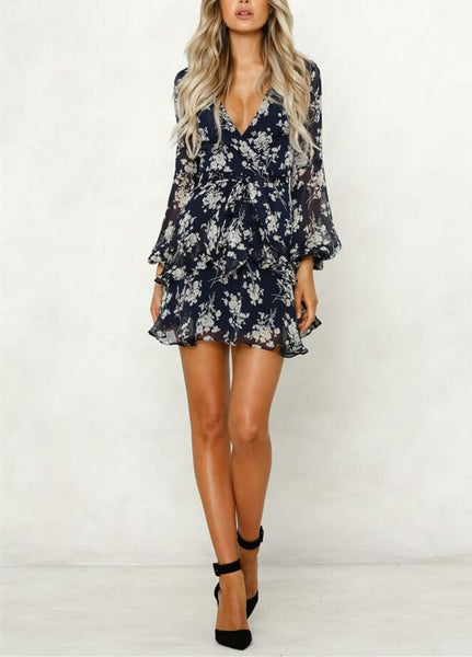 Digital Print V Collar Long Sleeved Waistband Dress