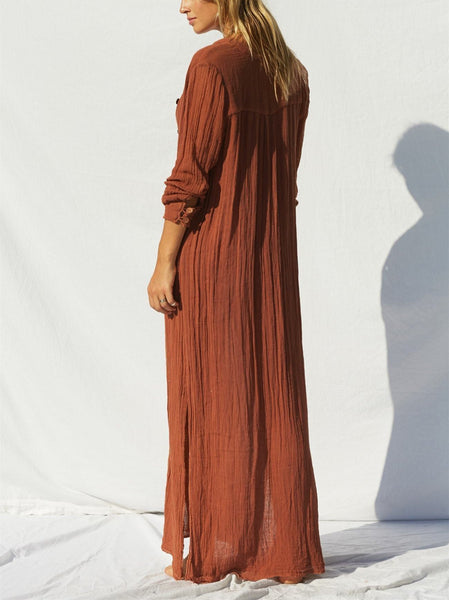 V-Collar Simple Loose Side Open Slit Casual Dress