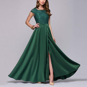 Pure Colour Short Sleeve Fashion Maxi Dress