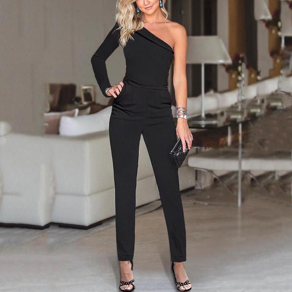 Fashion One Shoulder Solid Color Jumpsuits