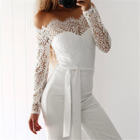 Sexy Off-Shoulder Lace Splicing Broad Jeg Jumpsuits