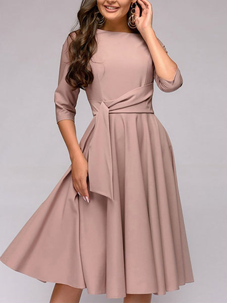 Casual Pure Colour Round Neck Belted Casual Dresses