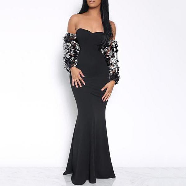 Sexy Sequins Inwrought Deep V Evening Dress