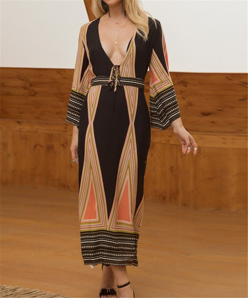 Stylish Deep V-Neck Bohemian Print Dress