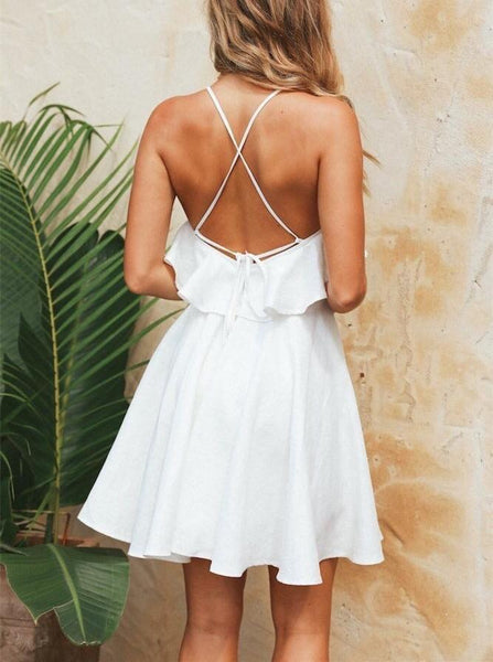 Fashion Sexy Backless   Flouncing Mini Dress