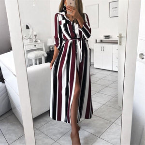Fashion Colour Striped   Printed Loose Shirt Maxi Dress