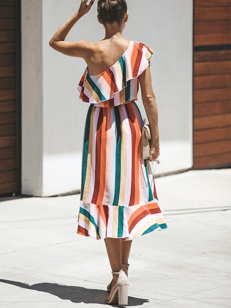 Fashion Sloping Shoulder Striped Irregular Casual Dresses