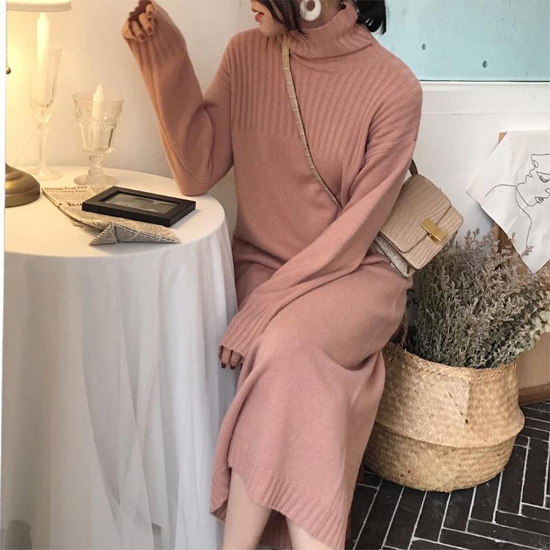 Fashion High Collar Pure Colour Knitted Dresses
