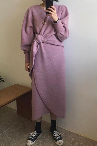 Casual Pure Colour Belted Thickening Woollen Dresses