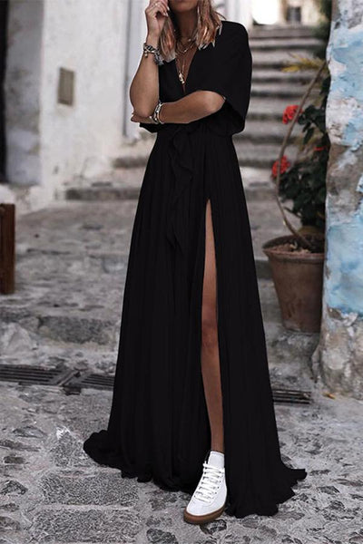 Sexy Deep V Collar Plain Short Sleeve Slit Maxi Dress