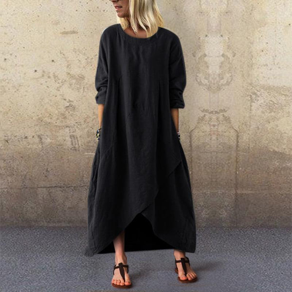 Casual National Style Loose Linen Maxi Dresses