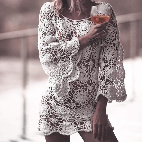 Fashion Lace Hollow Out Long Sleeve Knitted Dresses